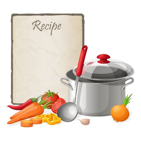 recipe card: Recipe card. Kitchen note blank template illustration. Cooking notepad on table with kitchenware and vegetables