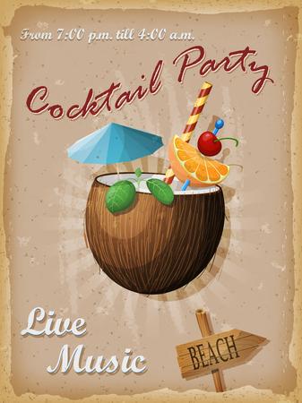 Cocktail party vintage poster. Kokosnotencocktail illustratie.