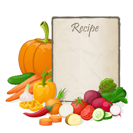 recipe card: Recipe card. Kitchen note blank template vector illustration. Illustration