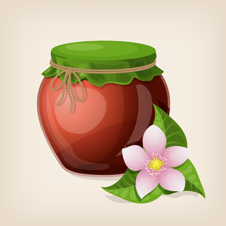 Jar of honey with leaves and a flower. Illustration