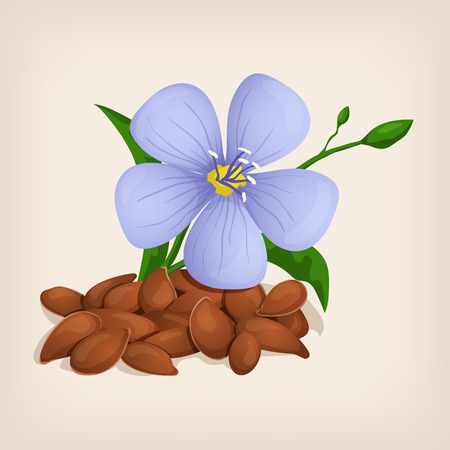 Brown flax seeds with flowers and leaves. Illustration