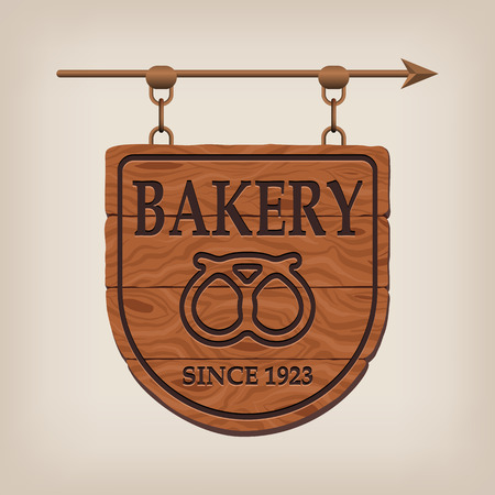establishment states: Vintage wooden bakery sign bakery.