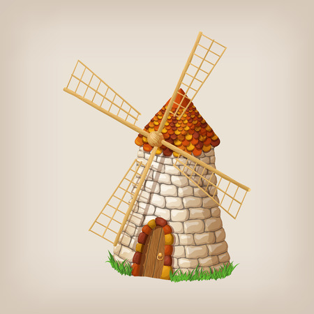 single object: Traditional old windmill building single object color painted concept.