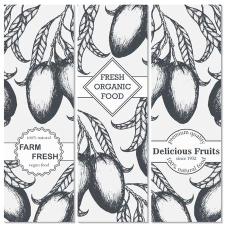 Mango hand drawn vertical banners set. Vector illustration.