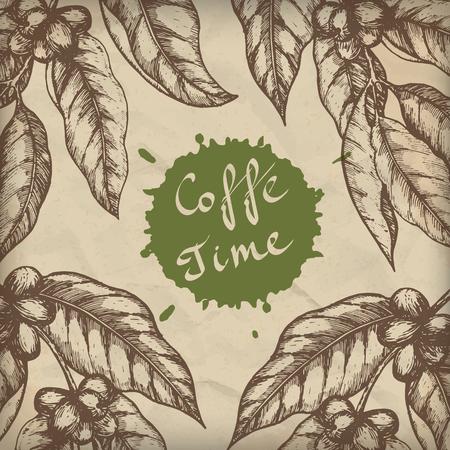 Coffee design template. Coffee branch engraving illustration. Vector illustration