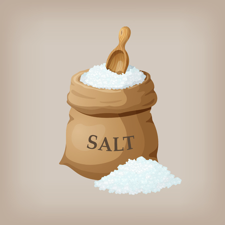 Sól morska w worku z juty. ilustracji wektorowych