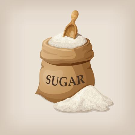Sugar with scoop in burlap sack. Vector illustration