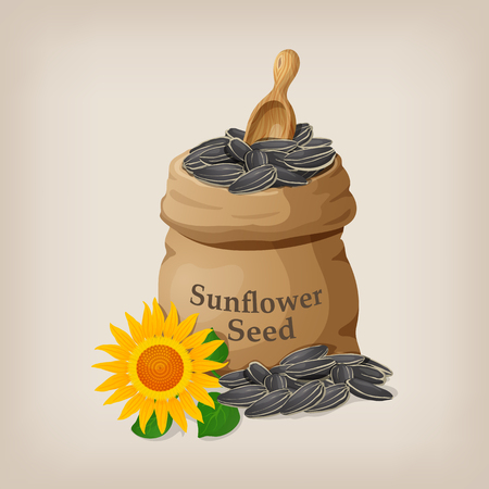 raw materials: Sunflower seeds in a sack and spoon. Vector illustration Illustration