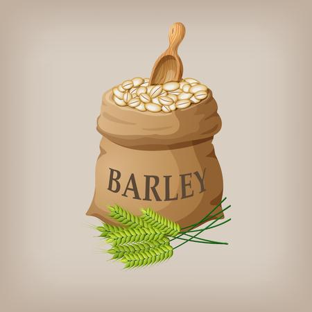 Barley grain seed in the bag. Vector illustration Illustration