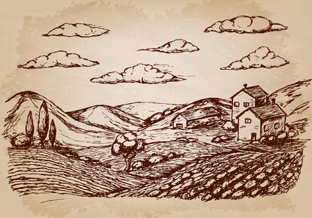 Hand drawn village houses sketch and nature. Vector illustration