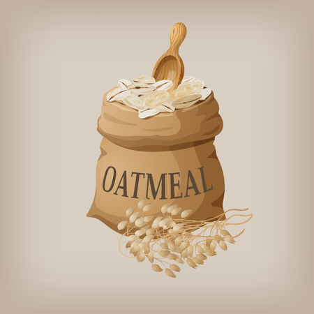 Oatmeal flakes in the bag. Vector illustration Illustration