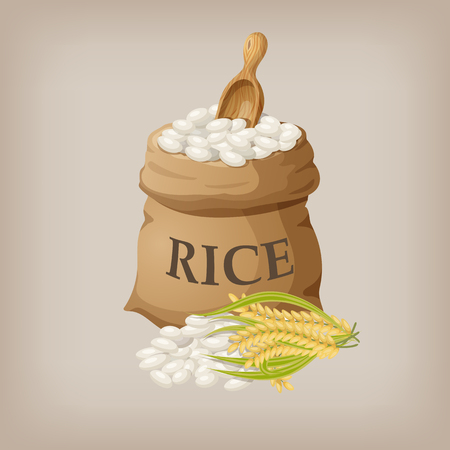 White rice in small burlap sack. Vector illustration Ilustração