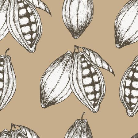 Cocoa hand drawn seamless pattern. Vektoros illusztráció