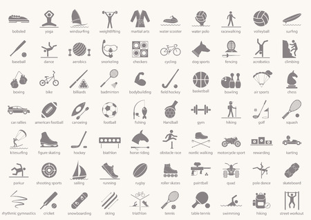 Set of sport icons in flat design with shadows Vector illustration Illustration