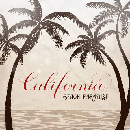 California lettering with palms background. Vector illustration.  イラスト・ベクター素材