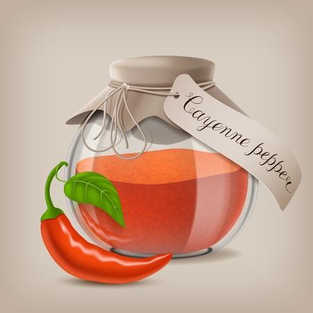 Ground cayenne pepper in glass jar. Vector illustration EPS10