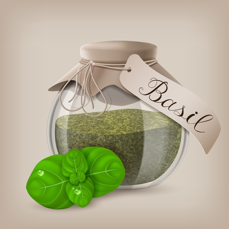 Basil dry spice in a jar with basil leaves. Vector illustration EPS10 Stock Illustratie