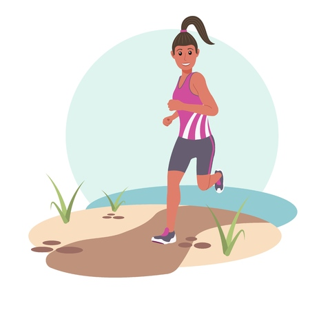 Young happy woman Jogging in the Park. Flat vector illustration. EPS10