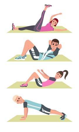 Happy people in plank on mat, lifting legs, fitness training and sport exercise vector. People in sportswear on rugs, daily workout and healthy lifestyle. Vector illustration in a flat style. EPS10 Illustration
