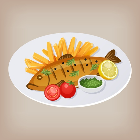 Fish and chips with tomatoes, sauce and a slice of lemon on a plate. Vector illustration EPS10