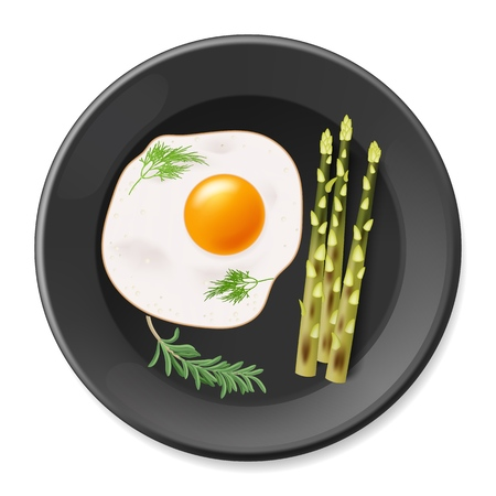 Fried eggs with asparagus on the black plate. Vector illustration EPS10 Imagens - 123284867