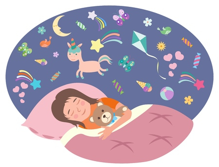 The little girl is sleeping. Childrens dreams concept. Vector illustration in flat style EPS10. 向量圖像