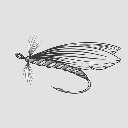 Fly fishing fly fishing, vintage engraved. Vector illustration. 写真素材 - 132088534