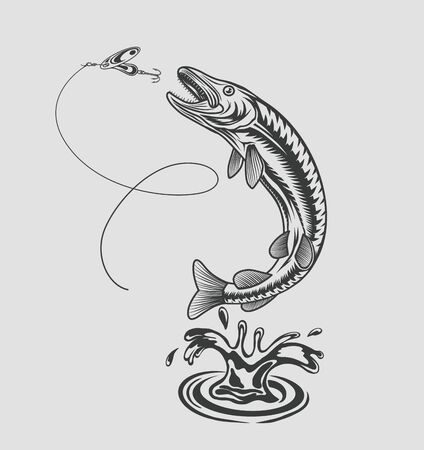 Pike jumps out of the water for spoon in the style of prints. Vector illustration