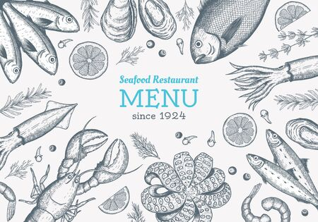 Vector frame with hand drawn seafood illustration - fresh fish, lobster, crab, oyster, mussel, squid and spice. Decorative card or flyer design with sea food sketch. Vintage menu template. Çizim