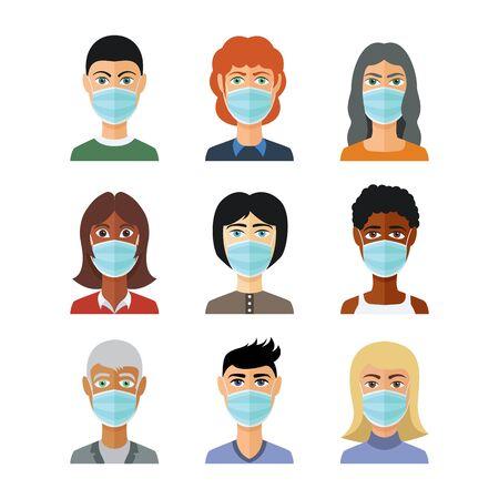 Avatars in medical masks. Vector in flat style. Pandemic stop Novel Coronavirus outbreak covid-19 2019-nCoV concept.