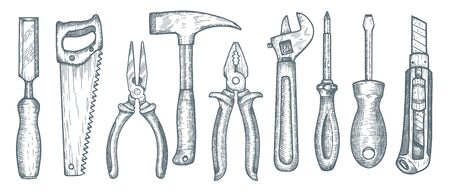 Set of hand tools. Collection of hand drawn engraved graphic. Vector illustration