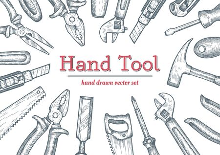 Hand tools top view frame. Collection of hand drawn engraved graphic. Vector illustration