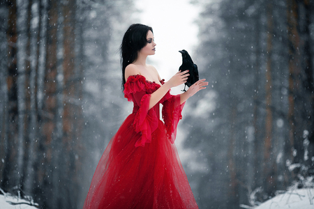 Woman witch in red dress and with raven in her hands in snowy forest. Her long dress lying on snow and she looks at raven. Around snowing and snowflakes fall on hem of her dress. Stock Photo
