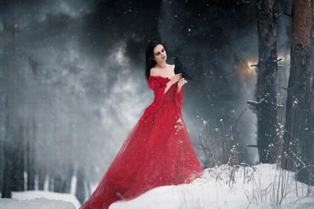 Frau Hexe im roten Kleid und mit Raben in ihren Händen in verschneiten Wald. Ihr langes Kleid auf Schnee liegen und sie sieht Rabe. Rund schneit und Schneeflocken fallen auf Saum ihres Kleides.