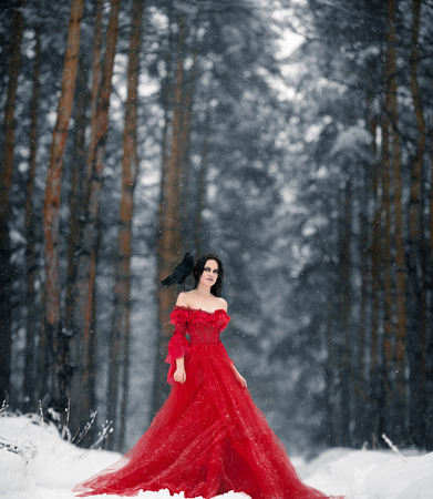 Woman witch in red dress and with raven on her shoulder in snowy forest. Her long dress lying on snow. Around snowing and snowflakes fall on hem of her dress.