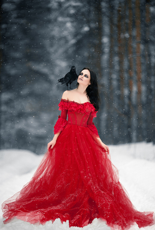 Woman witch in red dress and with raven on her shoulder in snowy forest. Her long dress lying on snow and she looks at raven. Around snowing and snowflakes fall on hem of her dress. Stock Photo