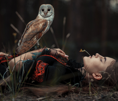 Girl in red and black dress lies with owl on grass in forest. Owl sits on her hand. Close-up.