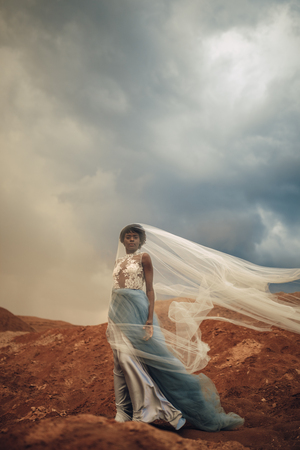 Black bride in waving long wedding dress and bridal veil stands on background of beautiful landscape and sky with clouds. Side view.