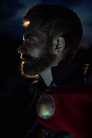Dnipro, Ukraine- June 5, 2019: Portrait of cosplayer portraying superhero Thor from Marvel Comics.