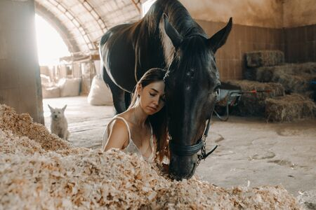 A young woman sits on a pile of wood shavings in a stable next to a standing horse. Archivio Fotografico