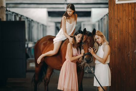 A young woman is riding a horse and two other women are standing nearby in the stable.