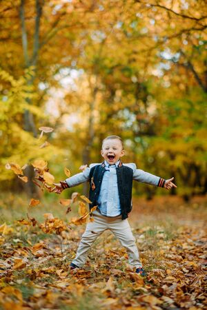 Rapturous, joyful and happy child boy stands in the autumn forest while walking.
