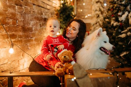 Mother and her son sit next to white samoyed dog against background of Christmas tree and decorations.
