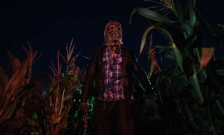 Walking dead zombie stands at the edge of a cornfield at night with metal chain in his hand.