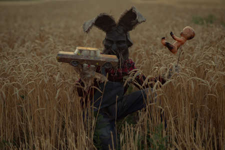 Man in image of sorcerer in hat with rabbit ears performs a voodoo ritual and holds doll impaled wire and old toy car on wheat field in evening. Stock Photo
