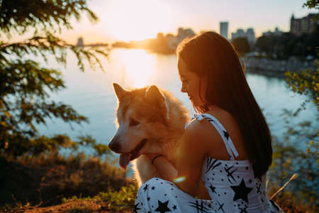 Young woman plays with Malamute dog in park against background of river and city at sunset.