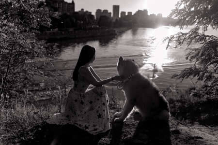 Young woman plays with Malamute dog in park against background of river and city at sunset. Black and white image.