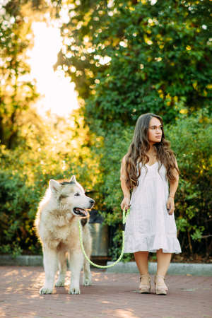 Young woman with innate disorder dwarfism leads on a leash Malamute dog while walking in park.