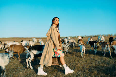 Handsome female shepherdess walks in a pasture among a herd of goats. Zdjęcie Seryjne