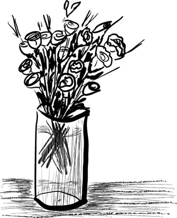 A bouquet of small roses in a glass vase. Hand drawn effect Illustration